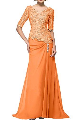 La_Marie Braut Blau Spitze Langarm Abendkleider Ballkleider Brautmutterkleider Etuikleider Neu Orange