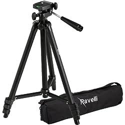 Ravelli (APLT2) - Trépied de 127cm en Aluminium Léger et Sac de Transport pour Appareil Photo ou Caméra (Noir)