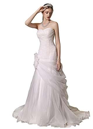 AdasBridal Abiti da Sposa Abiti da Cerimonia Elegante Organza Scollo a Cuore A-line Abito da Sposa