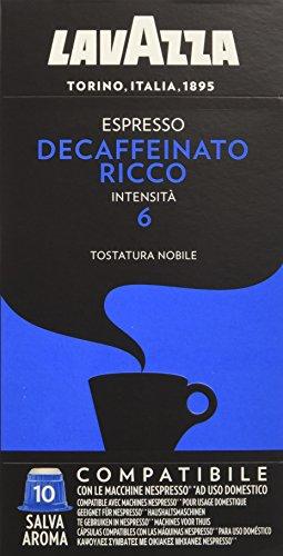 Lavazza capsule compatibili nespresso espresso decaffeinato ricco - 10 confezioni da 10 capsule [100 capsule]