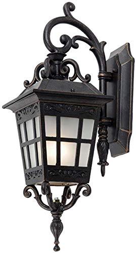 Außenpatio Lighting Wand-Laterne Matt Schwarz mit Brown Außenbeleuchtung Lampe Mattglas Weiches Licht E27 Dekorative Terrasse Doorway yppss -