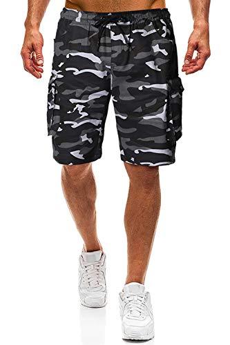 Herren Shorts Kurze Hose Herren Cargo Shorts Bermuda Short Herren Sweatshort Sportshorts Freizeit Laufen Lässige (Camouflage, XL)