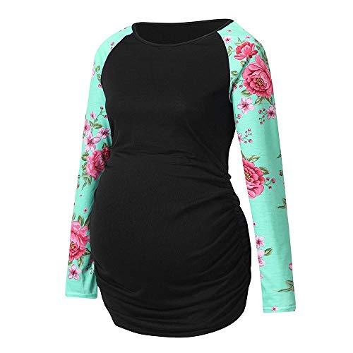 Damen Langarm Umstandsshirt Mutterschaft Umstandsmode Rundhals T-Shirt Mama Schwangerschaft Kleidung Tops Plus Größe Stillshirt Stilltop (Schwarz,XXL)