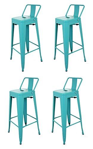 La Chaise Espagnole - Lot de 4 Tabourets de style Tolix avec dossier, Bleu Turquoise, 94x44,5x44,5