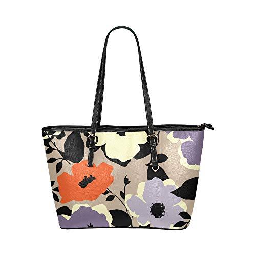Plsdx Violette Blumen Lila Romantische Große Leder Tragbare Top Hand Totes Taschen Kausal Handtaschen Reißverschluss Schulter Einkaufstasche Geldbörse Organizer Für Dame Mädchen Frauen -