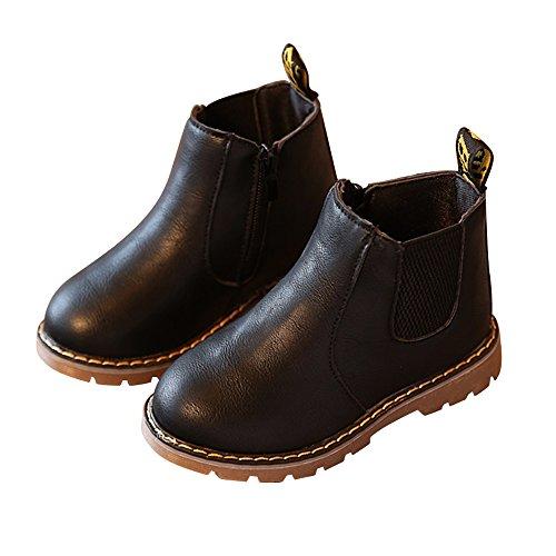 (Nasonberg Jungen Mädchen Winter Leder Schneestiefel Warme weiche Winterschuhe Boots für Kinder Baby, Schwarz, 32 EU=Innenlänge 18,6CM)