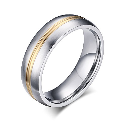 Heyrock Unisex Thin Gold Line Wedding Band Stainless Steel Anniversary Dome Ring (62) (K Wedding 18 Band Gold White)