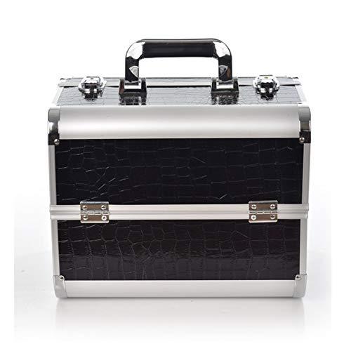 HXDZSW Kosmetische Box Vanity abschließbare Beauty Make-up Nagel Schmuck tragbare Fall Aufbewahrungsbox Veranstalter professionelle kosmetische Aufbewahrungsbox (Farbe : Schwarz) - Vanity Box
