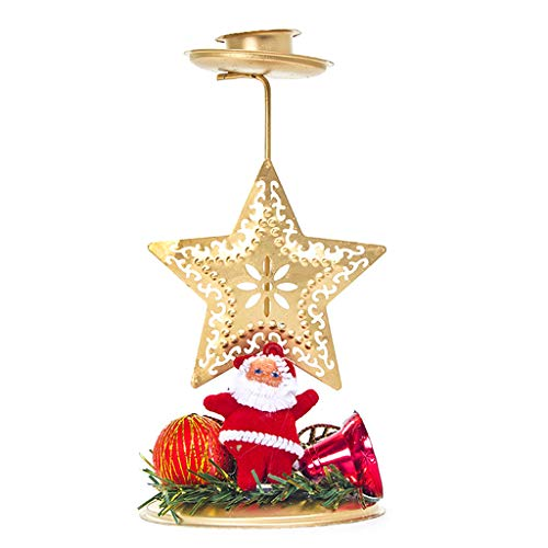 Wand-hurrikan-kerze (Hoxin Weihnachtskerzenhalter 6.10x3.15 H, Metallständer Kerzenhalter Teelichthalter Weihnachten Startseite Hochzeit Dekor Geschenk (Stern))