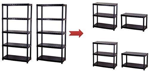 2 Stück XL Schwerlastregale, Lagerregale mit dem Maß von jeweils 85 x 40 x 185 in Schwarz. Beide Regale teilbar: Aus 2 Regalen mach 4 Regale! SGS TÜV geprüfte Qualität