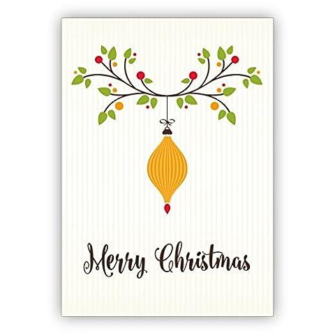 Weihnachts Klappkarten Set (4Stk) Elegante englische Weihnachtskarte mit Weihnachtsschmuck: Merry Christmas
