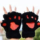 ZHANGYUGEGE  Süße Plüsch Bear Claw Half-Finger Handschuh Handschuhe Winter Handschuhe halten warme Handschuhe Frauen Zubehör
