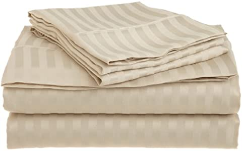 Superior 1500 Series Premium Quality 100% Brushed Soft Microfiber 4-Piece Luxury Deep Pocket Bed Sheet Set, Hypoallergenic, Wrinkle and Stain Resistant - Sateen Stripes, King,