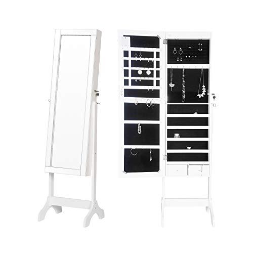 WOLTU MB0015ws Schmuckschrank Spiegelschrank mit LED Beleuchtung(innen und außen) Standspiegel Ganzkörperspiegel Schmuckkasten Ankleidespiegel 160x48x40cm, weiß