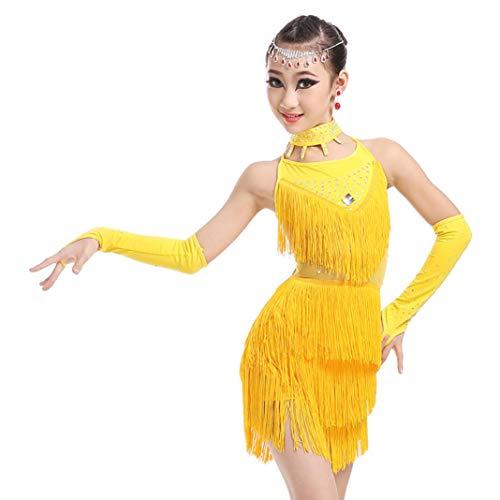Tanz Den Kostüm Wettbewerb Für Freestyle - Kinder Latin Dance Kostüme Mädchen Quasten Latin Dance Kostüm Wettbewerb Tanz Kostüm Wettbewerb,Yellow,120CM