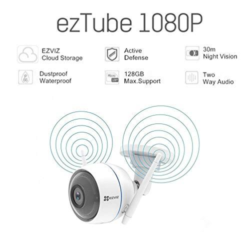 Ezviz ezTube 1080p Full-HD Kamera mit Nachtsicht, Rundumleuchte und Sirene, doppelte Externe WLAN-Antennen, 2-Wege-Audio, High-DB-Lautsprecher, Staubdicht, Wasserdicht, weiß, Brennweite 2,8mm