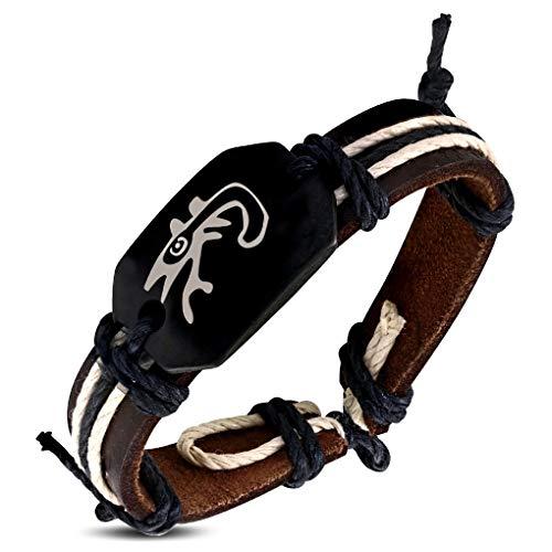 Schmuckprofessionals 20cm Mode Seil braun Leder & Knochen Spirale Lucky Lizard Watch-Style Armband - Knochen Lizard