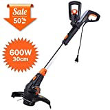 TACKLIFE Electric Grass Trimmer, 600W, 30cm Cutting Diameter String Trimmer, Automatic Double Line