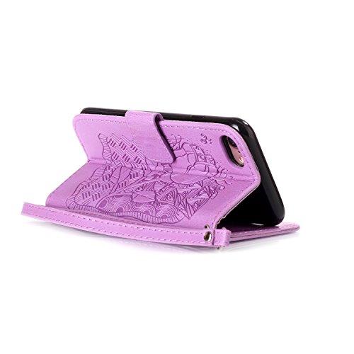 """MOONCASE iPhone 7 Étui, Rose Relief Motif Protection en PU Cuir Folio Housse Béquille Etui à rabat Case Cover avec Porte-cartes Fentes Portefeuille Béquille Fermeture Magnétique pour iPhone 7 (4.7"""") B Violet"""