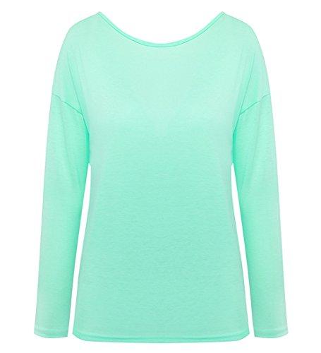 Minetom Sommer Damen Tops Oberteil Bluse Party Pullover Frühjahr Rundhals Langarm Bluse Rückenfrei Loose T Shirt Grün
