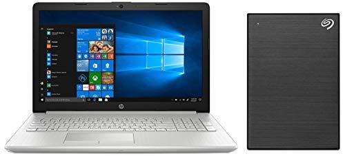 HP 15 Core i3 7th gen 15.6-inch Laptop (4GB/1TB HDD/Windows 10 Home/Natural Silver/2.04 kg), 15-DA0326TU + Seagate Backup Plus Slim 1 TB External Hard Drive Portable HDD - Black USB 3.0 Combo