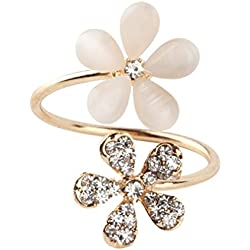 Lightleopard 1 Pieza de Cristal Doble Margarita Flor pétalos Anillo Ajustable Anillo de Diamantes de imitación