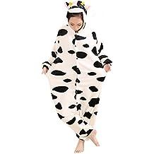 LIHAO Pijama Disfraz de Vaca Lechera para Adulto Unisex, Cosplay, Halloween (Talla:L)