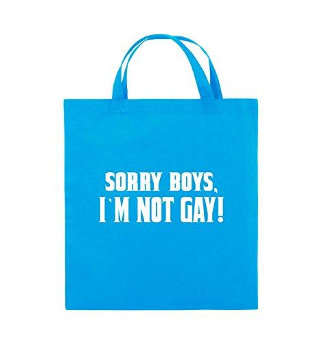 Comedy Bags - SORRY BOYS I'M NOT GAY! - Jutebeutel - kurze Henkel - 38x42cm - Farbe: Schwarz / Pink Hellblau / Weiss