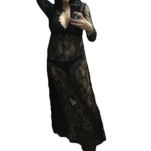*Reizvolle Art Tiefen V-Ausschnit Lange Hülsen Spitze Strand Kleid See-through Lange Kleid Mutterschaft Lace Blumen Kleid – Juleya*
