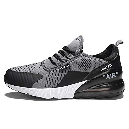 Newest Air Chunky Bottom Breathable Men Sneakers Plus Size Flyknit PU Sole Leather Trainers Casual Men Shoes Zapatos de Hombre Black-Gray 8 -