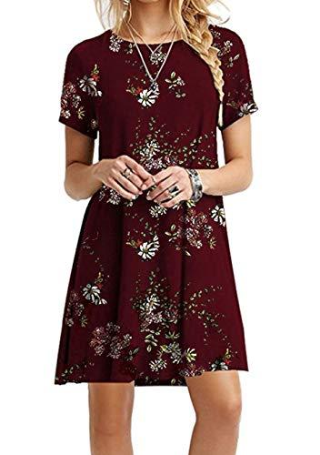 EFOFEI Damen Lässige Swing Floral Dress Tunika Shirt Kleid, Burgund, L -