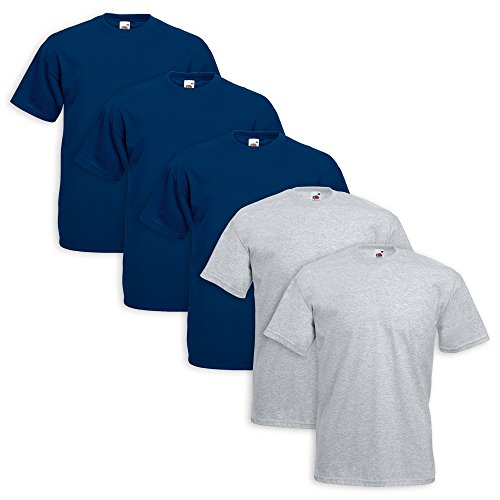 Set 5 Shirt Fruit of the Loom 3 Pezzi Blu Navy 2 Grigio