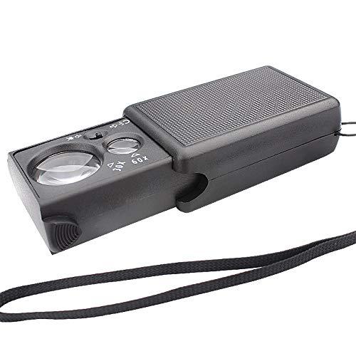 60-fache tragbare Multi-Funktions-Lupe 30-fach-Doppellinse mit Lampe lila Licht ziehen Geldtest Rauch Test 60-mal tragbares Schwarzes tragen kleine und leichte tragbare hohe mehrfache Linse klar und h
