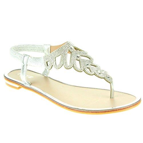 Frau Damen Diamante Zehenpfosten Slingback Sommer Strand Open Toe Beiläufige Party Komfort Flache Sandale Schuhe Größe Silber