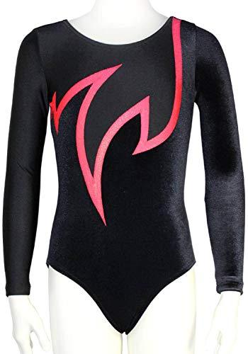 Langarm Mädchen Turnanzug Nicki Samt ML110686 Farbe schwarz, schwarz, rot, Größe 152