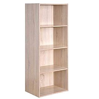 COSTWAY Bücherregal aus Holz, Flurregal Standregal Büroregal Aktenregal Holzregal Ordnerregal Aufbewahrungsregal, Eiche-Optik Größenauswahl (4 Fächer)