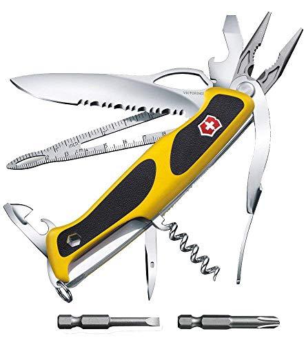 Victorinox Taschenmesser Ranger Grip Boatsman (22 Funktionen, Feststellklinge, Etui) gelb/schwarz