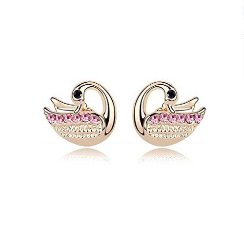 Erica Cristal Petit Mignon Sparkling autrichienne Swan en forme de Boucles d'oreilles pour Femmes Filles color