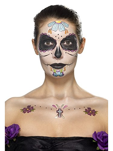 Smiffy's 41569 - Tag der toten Gesichts-Tätowierung Transfers Kit  Gesichtsfarben- Gem Aufkleber Crayon und Applikatoren (Tätowierung Kit)