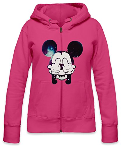 Mickey Mouse Fuck Off Womens Zipper Hoodie X-Large (Beanie Mickey Mouse)