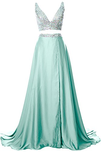 MACloth Gorgeous 2 Piece Long Prom Dress Straps V Neck Formal Party Evening Gown Aqua