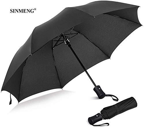 SINMENG Regenschirm | Taschenschirm | sturmfest bis 140 km/h | klein stabil automatik reise Schirm | Umbrella windfest (schwarz)