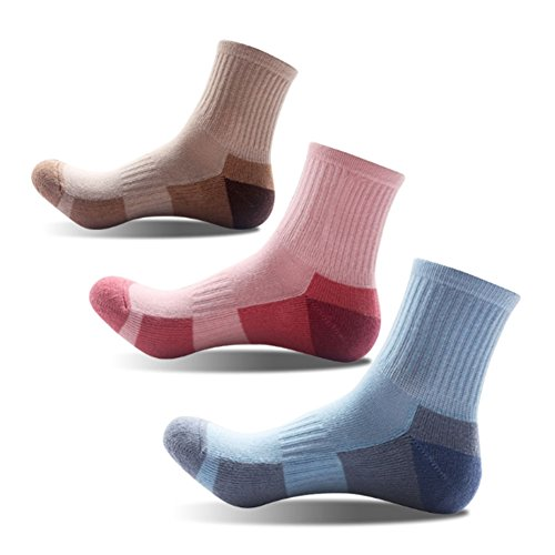 3 Pairs Women Girls Running Hiking Socks - No Blister Terry Cushion, Breathable, Warm, Moisture Wicking, Arch Support, for Outdoor Sports Walking Trekking Cycling Camping Golf Gym, Ladies UK Size 4-8