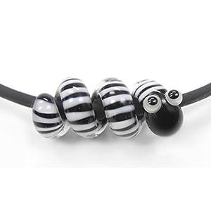 Anhänger, handgefertigt aus Glas, kleine Schlange schwarz, weiß mit 4 mm Lochdurchmesser