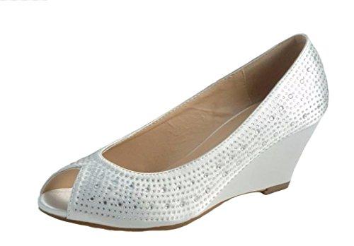 Divine ,  Damen Peep-Toe , weiß - elfenbeinfarben - Größe: 40