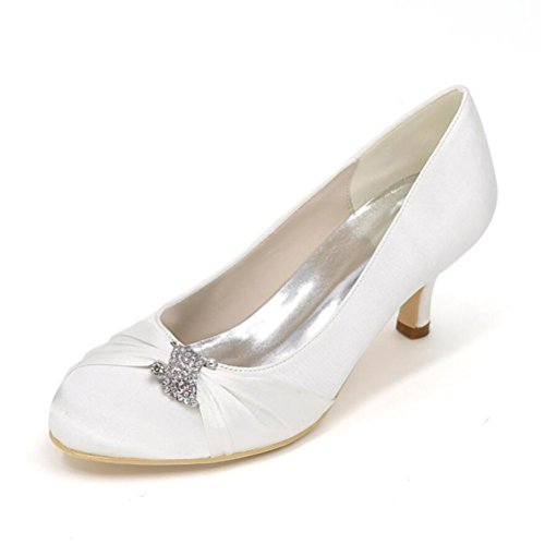 Ei&iLI delle donne Court Satin scarpe da sposa Strass Tacchi punta chiusa del partito dei pattini EU35-EU42 Ivory