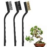 3pz Strumento per la pulizia di mini spazzole metalliche con manico in plastica per la pulizia della spazzola per bonsai di tronchi da giardino