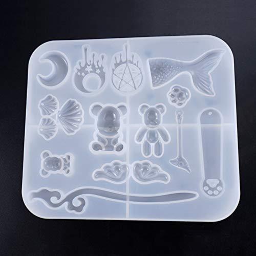 Baiyao Mond Bär Fischschwanz Shell Schmuck Gießformen für Harz, Silikon Molds Schmuck DIY Silikon Form Resin für Dekoration Crafting, Schmuck Machen -