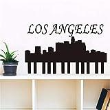 Wsxxnhh Hohe Qualität Vinyl Removable Home Decor Los Angeles Wandaufkleber Stadtsilhouette Für Wohnzimmer Muursticker Zubehör 93 Cm X 57 Cm