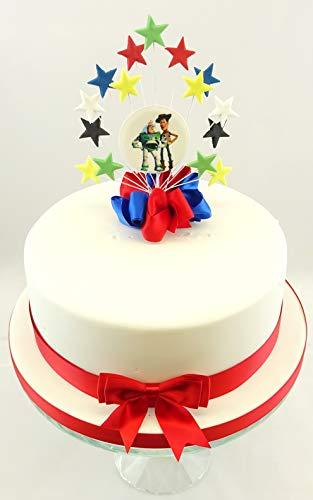 The Cake Emporium Ltd Toy Story Buzz Woody Star Burst Juego De Decoración Para Tarta De Cumpleaños Y Cinta